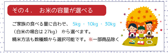 お米の容量が選べる